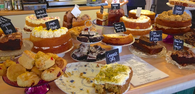Fabulous selection of cakes in the tea shop