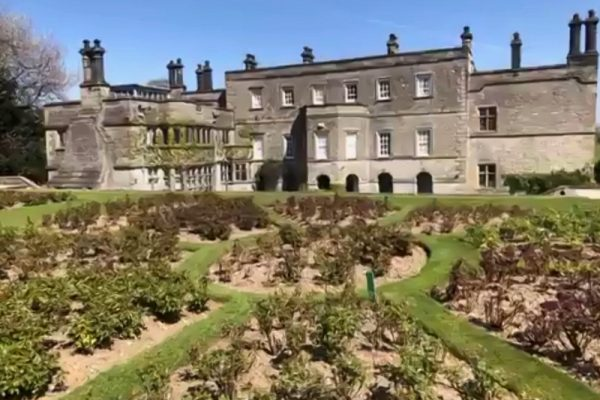 Rose garden and rear of Tissington Hall