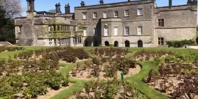 Rose garden and rear of Tissington Hall