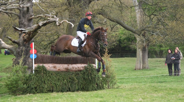 Chatsworth horse trials - horse and jockey jumping fence