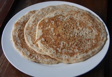 Three Derbyshire oatcakes on a plate