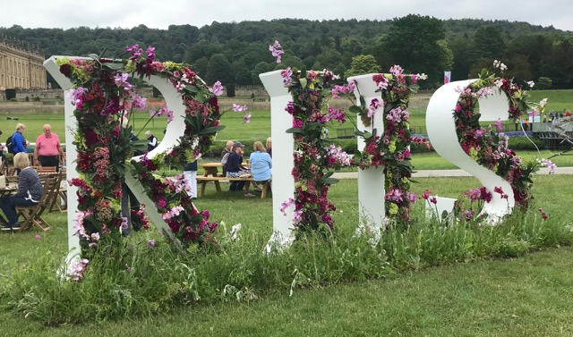 RHS Chatsworth sign in flowers