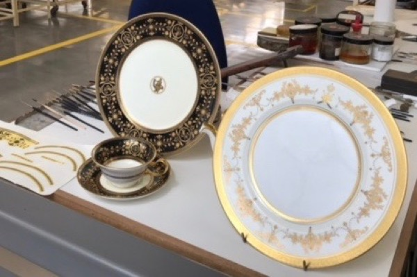 Intricate goldwork on Wedgwood plates